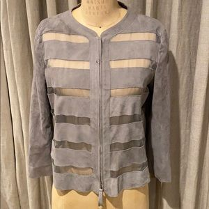 Armani Collezioni gray suede and sheer jacket